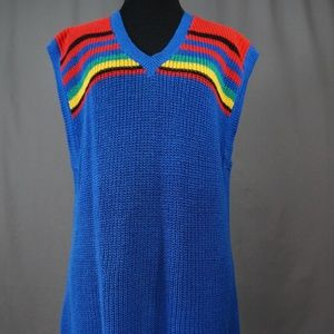 Vintage 80's Main Event Knit V-Neck Dress, Retro